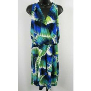 Multi-Color Palm Leaf Sleeveless Dress